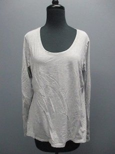 lucy Lucy Gray Cotton Long Sleeves Scoop Neck Solid Casual Athletic Top Sm4548
