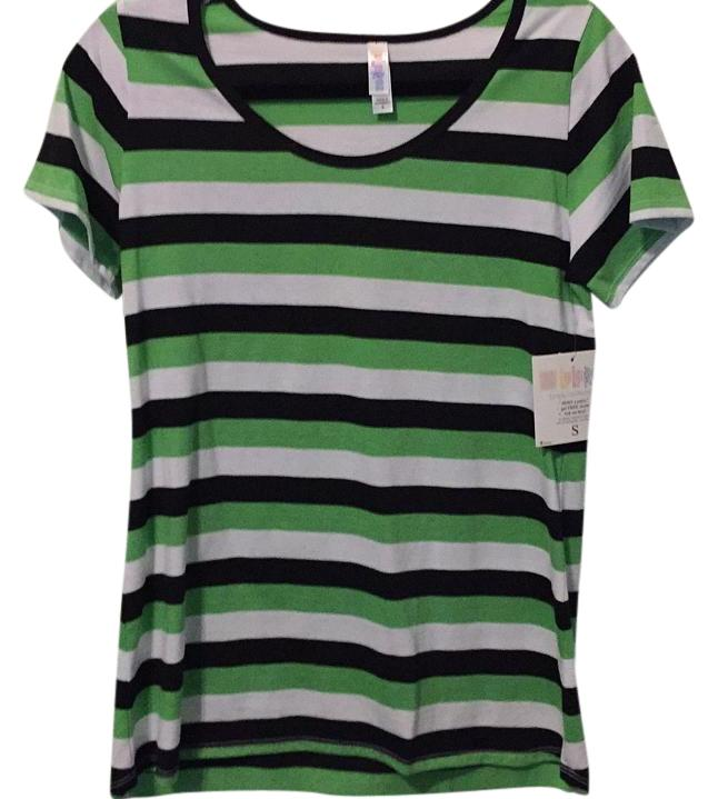 LuLaRoe Green Black/White Stripes Classic Tee Shirt Size 6 (S ...