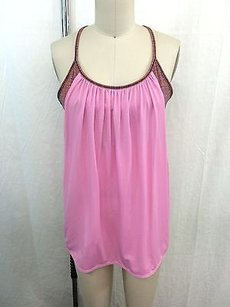 Lululemon Lululemon Athletica Pink Cotton Top W Multi Color Striped Sports Bra