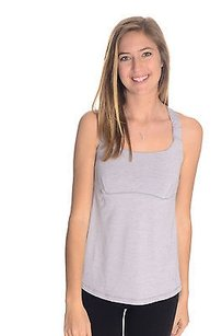 Lululemon Lululemon Heathered Silver Gray Workout Top Wbuilt In Bra Criss Cross Back