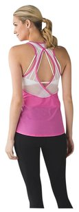 Lululemon Tranquil Tank Pink Paradise White PKPD/WHT Mesh Sz 8 SOLD OUT Rare