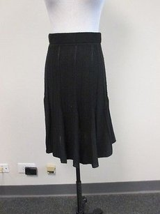 Lux Urban Outfitters Elastic Waist Solid Knee Length Flare W284 Skirt Black