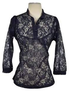 Lux Womens Floral Lace 34 Sleeve See Through Shirt Top Navy