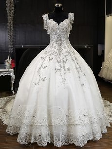 Luxurious Beading Crystal Ball Gown Cathedral Wedding Dress Wedding Dress