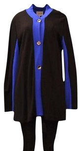 Lynn Ritchie Black Blue Trim Ponte Knit Long Top 150809e Black/Royal Jacket