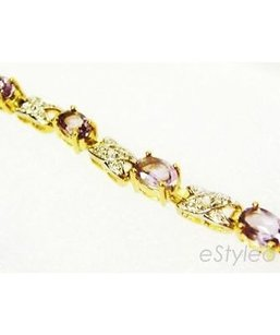 Macy's Macys 18kt Gold Over Sterling Silver Tennis Bracelet Diamond Accentpurple Stone