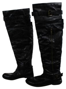 Madden Girl Womens Solid Leather Over Knee Casual Black Boots