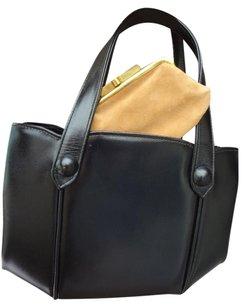MADE IN ENGLAND Excellent Clean Cond Footed Tote in BLACK LEATHER + ORIGINAL COIN PURSE