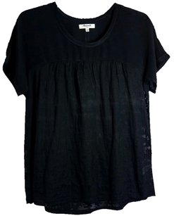 Madewell Floral Sheer Silk Top Navy