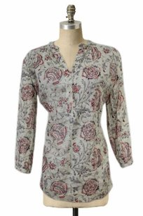 Madewell Semi Sheer Paisley Top Beige red gray