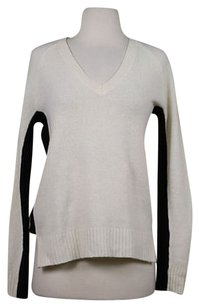Madewell Womens Ivory Black V Neck Wool Knit Sweater