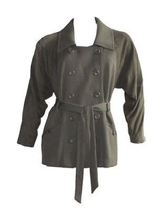 Madison Marcus Olive Suede Belted Lightweight Double Breasted Green Jacket