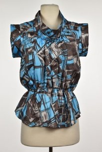 Madison Marcus Womens Blue Top Blue, Black, Gray, Brown