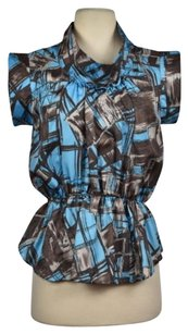 Madison Marcus Womens Silk Printed Casual Shirt Top Blue, Black, Gray, Brown