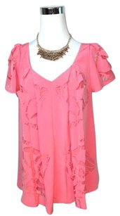 Madison Marcus Silk Lazer Cut Top Pink
