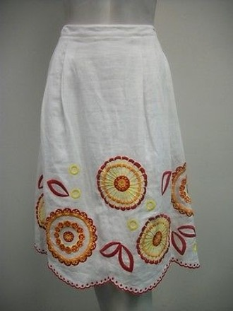 276b66147c Madison Studio Pleated Embroidered Skirt White Multi-color 100 Linen best