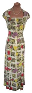 MULTI COLOR FLORAL SILK Maxi Dress by Magaschoni Excel Cond Print
