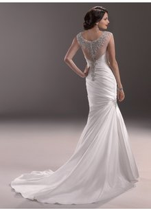 Maggie Sottero Diamond White Renior Satin Landyn Vintage Wedding Dress Size OS