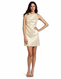 Maggy London short dress Ivory/Gold Nwd Metallic Acccents Brocade Shift 30963rm on Tradesy