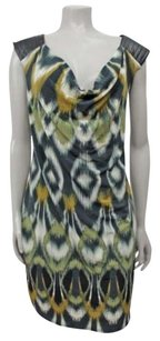 Maggy London short dress Multi-Color Cowl Neck Tribal Print Faux Leather Multi on Tradesy
