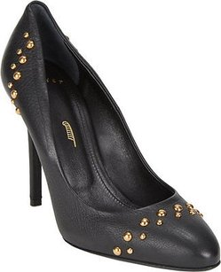 Maiyet Leather Round Toe Gold Studded Stiletto Heels Black Pumps