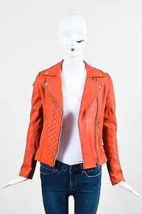 Maje Deep Leather Orange Jacket