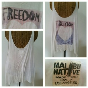 Malibu Native Heart Freedom Oversize Top White