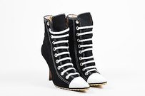 Manolo Blahnik White Black Boots