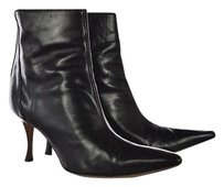 Manolo Blahnik Manolo Womens Ankle 388 Leather Casual Heels Black Boots