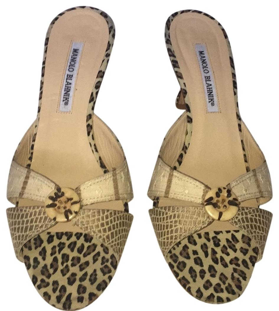 Manolo Blahnik Leopard Slide Sandals cost cheap price y4gmbSe