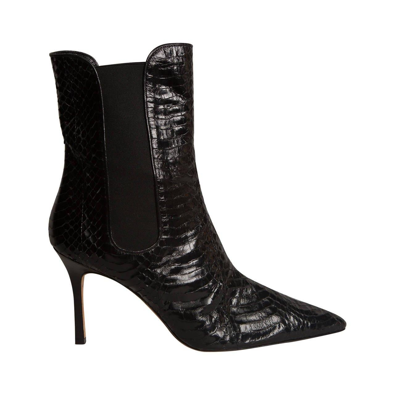 Manolo Blahnik Python Pointed-Toe Ankle Boots cheap genuine Zj16OMoc