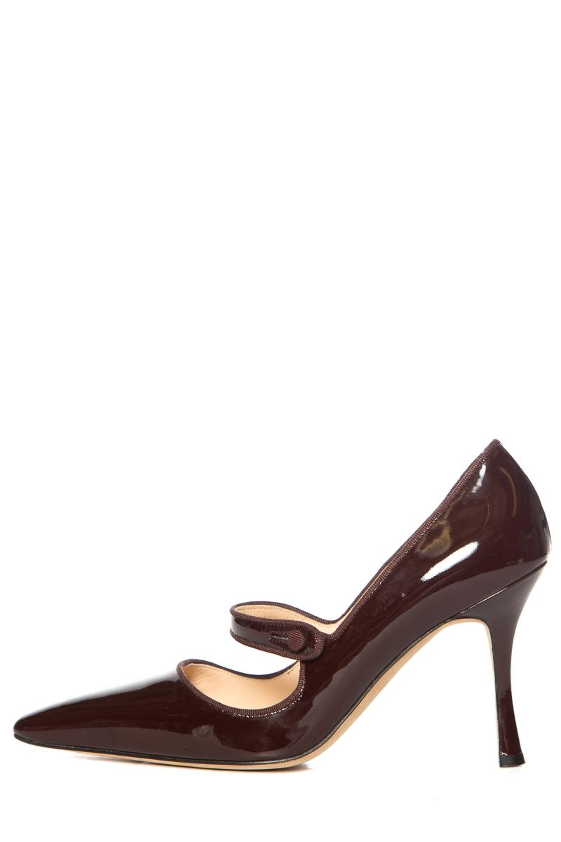 105126f5a664 Manolo Blahnik Chocolate Patent Patent Patent Leather Mary-jane Pumps Size  EU 38.5 (Approx