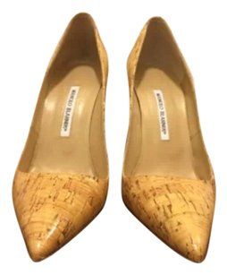 Manolo Blahnik Cork/ Nude Pumps
