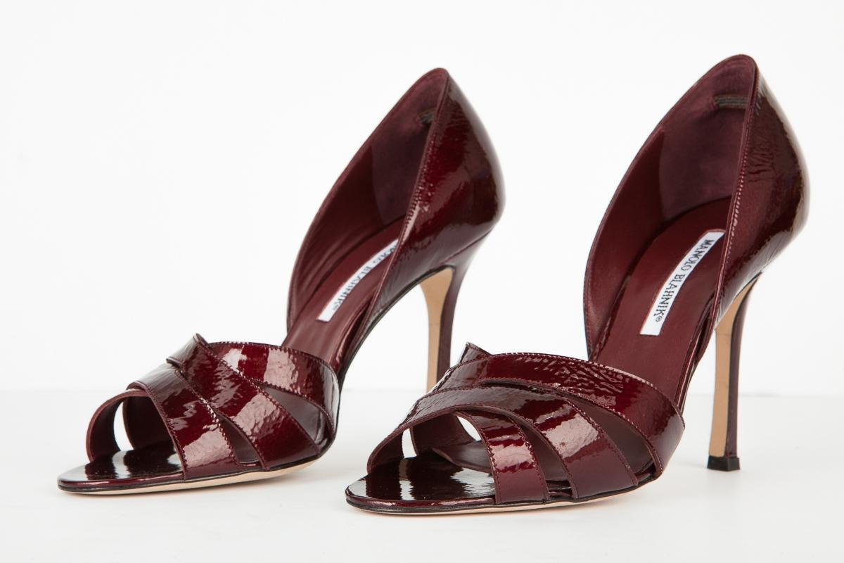 manolo blahnik maroon cuirs open orteil taille - talon pompes taille orteil nous 9 a95eb7