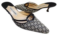 Manolo Blahnik Black Ivory Multi-Color Mules