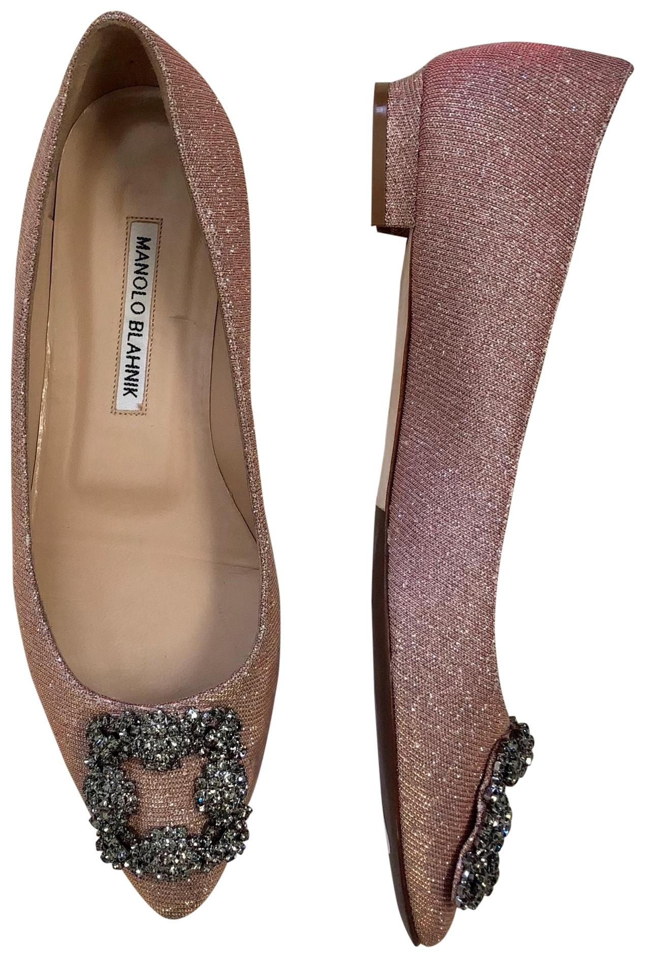 Manolo Blahnik Pink 'hangisi' Jeweled Pointy Toe Champagne Flats Size EU 37 (Approx. US 7) Regular (M, B)