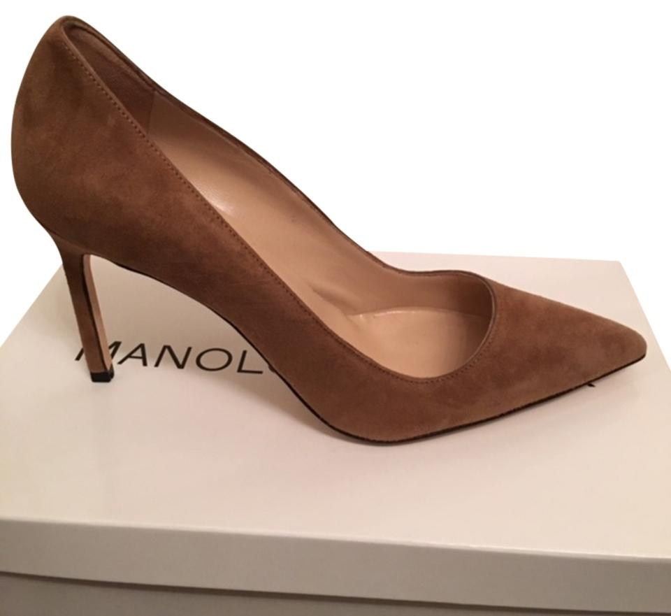 Manolo Blahnik Taupe Suede Bb 90mm Pumps Size US 7 Regular (M, B)