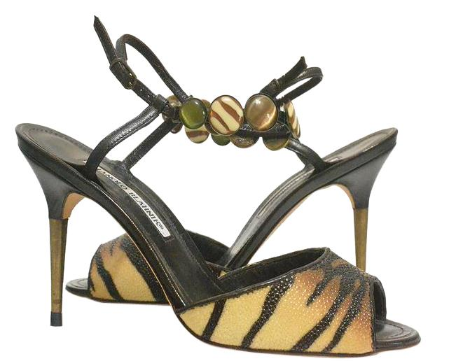 Manolo Blahnik Tiger - Printed Multi-color - Sandals Size EU 38.5 (Approx. US 8.5) Regular (M, B)