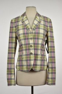 Marc Aurel Marc Aurel Womens Ivory Pink Blazer Plaid Cotton Career Jacket