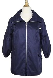 Marc Bouwer Marc Womens Solid 34 Sleeve Cotton Blend Basic Coat Blue Jacket