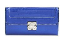 Marc by Marc Jacobs Mbmj Marc Jacobs Blue Patent Leather Top Schooly Reflector Lg Trifold Wallet