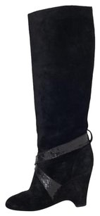 Marc Jacobs Suede Leather Snakeskin Tall High Heel Wedge Black Boots