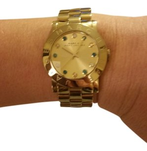 Marc Jacobs Marc Jacobs gold watch with aqua and iridescent crystals