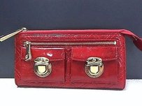 Marc Jacobs Marc Jacobs Red Quilted Zip Top Wallet Max057385