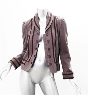 Marc Jacobs Marc Jacobs Womens Taupe Cotton Twill Military Long-sleeve Blazer Jacket Coat