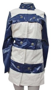 Marc Jacobs White Blue Striped Trench Raincoat