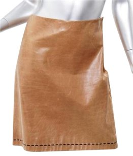 Marc Jacobs Tan Light Brown Leather Above Knee Straight Skirt Beige