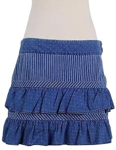 Marc Jacobs Womens White Printed Above Knee Blend Tiered Skirt Blue