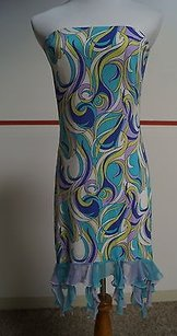 Maria Bianca Nero short dress Blues Swirl Pattern Strapless Nwt L 12662 on Tradesy