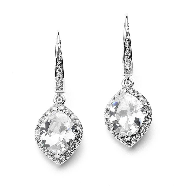 Mariell Marquise Cubic Zirconia Drop Wedding Earrings With ...